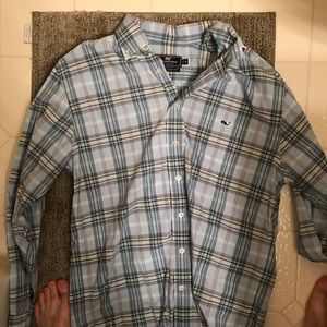 Vineyard vines pastel blue plaid shirt